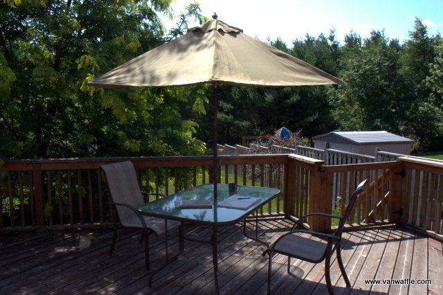 My morning work space, the back deck
