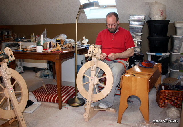 Gratitude: spinning in our craft room