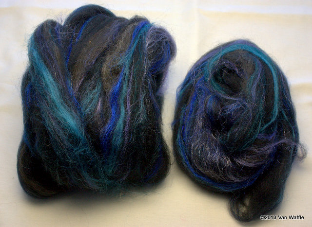 Dizzed roving for Nicobar pigeon shawl