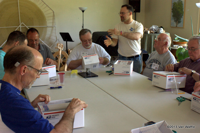 Dave Sledesky teaches introductory weaving at the Men's Spring Knitting Retreat 2013