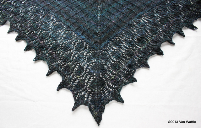Completed Nicobar pigeon shawl 1