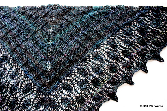 Completed Nicobar pigeon shawl 2