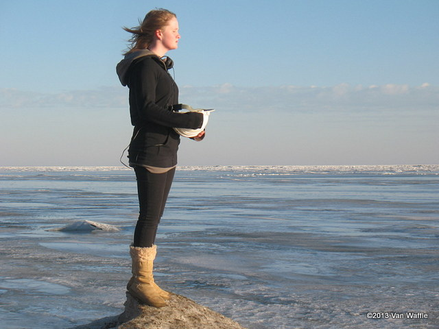 Brenna at Lake Erie in winter