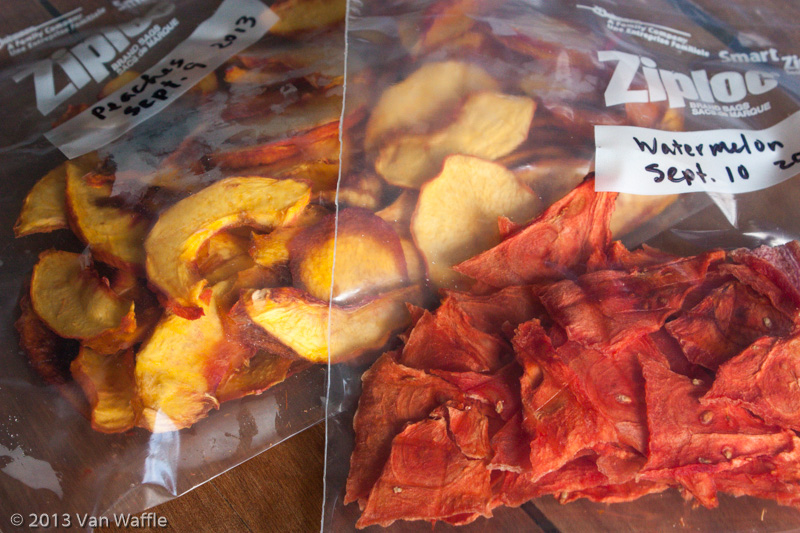 Dried peaches and watermelon