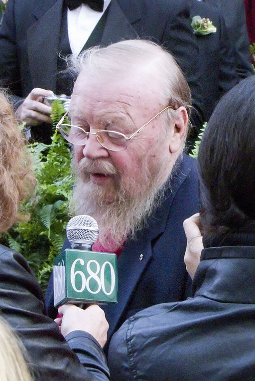 Author Farley Mowat being interviewed on the red carpet at the induction ceremony for Canada's Walk of Fame