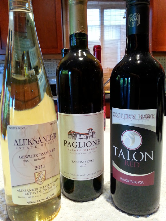 Aleksander Gewurztraminer, Paglione Rose, Cooper's Hawk Talon Red wines