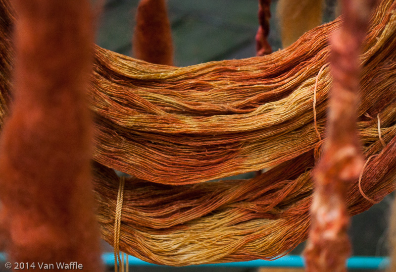 Silk yarn dyed with mountain-ash leaves